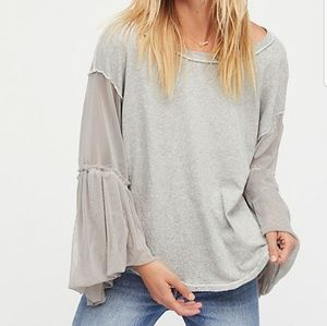 Free People Gray Still Got It Tee Mesh Sleeve XS